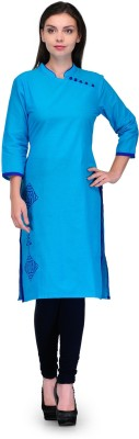 Tulsattva Women Solid Straight Kurta(Blue)