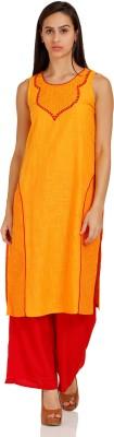 Aurelia Self Design Women's Straight Kurta(Yellow)  available at flipkart for Rs.494