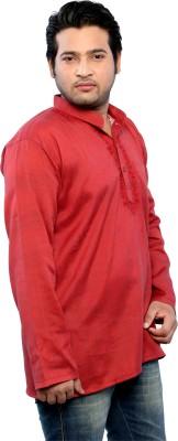 Bhartiya Embroidered Men's Straight Kurta(Red)