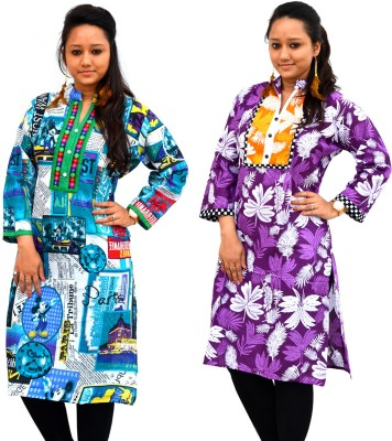 Aarti Collections Printed Women's Straight Kurta(Purple, Blue)