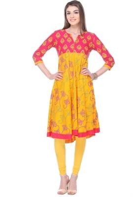 Aamii Printed Women's Straight Kurta(Yellow, Red)
