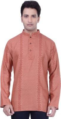 Rene Printed Men's Straight Kurta(Orange)