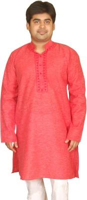 Bhartiya Solid Men's Straight Kurta(Red)