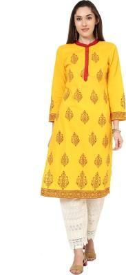 Shubhavas Women's Printed Straight Kurta(Yellow)