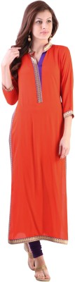 Libas Solid Women's Straight Kurta(Orange)