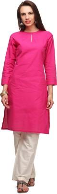 Abhishti Women Solid Straight Kurta(Pink) at flipkart