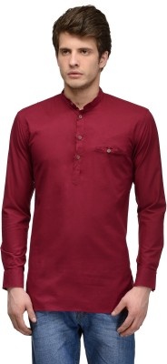 Feed Up Solid Men's Straight Kurta(Red)