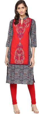 Prakhya Women Embroidered Straight Kurta(Black)