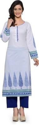 Tulsattva Women Block Print Straight Kurta(White, Multicolor)