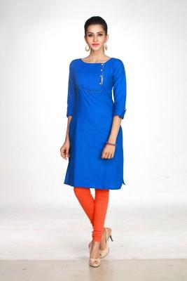 Maybell Self Design Women's Straight Kurta(Blue)