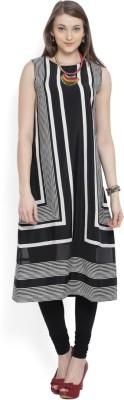 Libas Women Striped Straight Kurta(Beige)