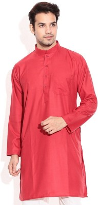 Royal Kurta Solid Men's Straight Kurta(Red)