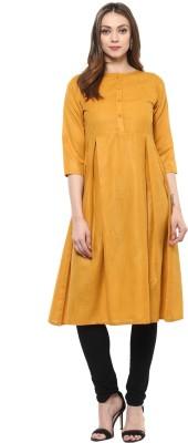 Libas Women Solid A-line Kurta(Yellow)