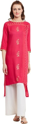 Bitterlime Women Self Design A-line Kurta(Pink) at flipkart