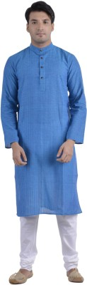 Rene Solid Men's Straight Kurta(Blue)