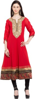 Nikhaar Women's Embellished Anarkali Kurta(Red)