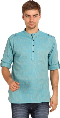 Svanik Solid Men's Straight Kurta(Blue)