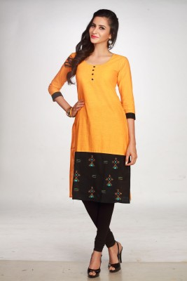 Maybell Printed Women's Straight Kurta(Yellow)