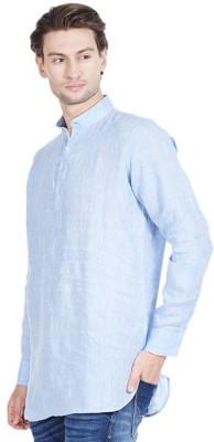 Royal Kurta Woven Men's Straight Kurta(Light Blue)
