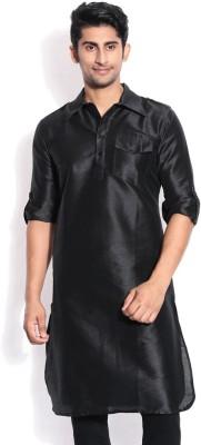Royal Kurta Solid Men's Pathani Kurta(Black)