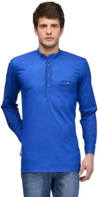 Feed Up Solid Men's Straight Kurta(Blue)