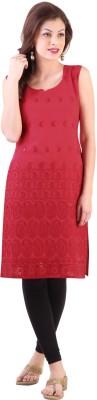 Libas Embroidered Women's Straight Kurta(Red)