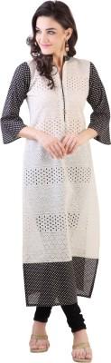 Libas Self Design Women's Straight Kurta(White, Black)