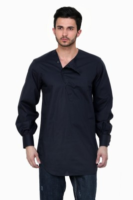 Dazzio Solid Men's Straight Kurta(Blue)