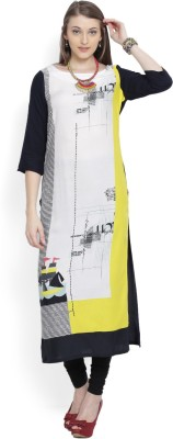 W Women Printed, Striped Straight Kurta(Multicolor)