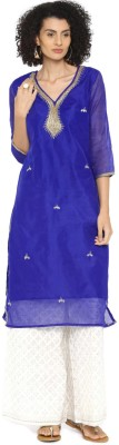 Anouk Women Self Design Straight Kurta(Multicolor) at flipkart