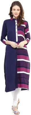Biba Women Striped Straight Kurta(White)