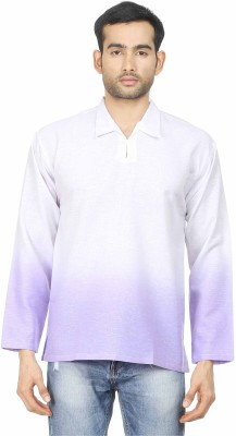 Human Steps Solid Men's Straight Kurta(Purple)