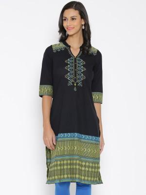 Aurelia Printed Women's Straight Kurta(Black)  available at flipkart for Rs.453