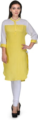 Tulsattva Women Solid Pathani Kurta(Yellow)