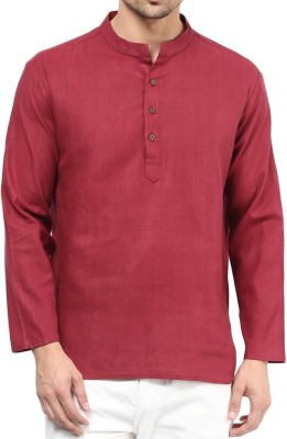 Vivid India Solid Men's Straight Kurta(Red)