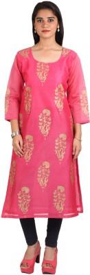 NIKA Women Embroidered A-line Kurta(Pink, Beige) Flipkart