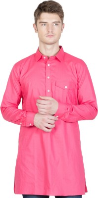 NFC Men Solid Straight Kurta(Pink) at flipkart
