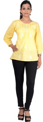 GO Embroidered Women's Straight Kurta(Yellow)