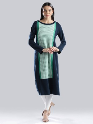 W Women Printed Straight Kurta(Dark Blue)
