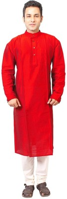 Slice Of Bengal Solid Men's Straight Kurta(Red)