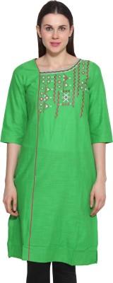 Aurelia Solid Women's Straight Kurta(Green)  available at flipkart for Rs.359