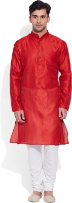Very Me Solid Men's Straight Kurta(Red)