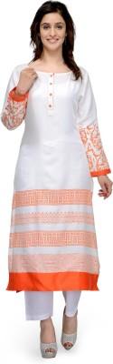 Tulsattva Women Printed Straight Kurta(White, Orange)