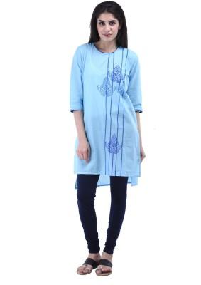 Aarr Printed Women's Straight Kurta(Blue)