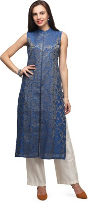 Abhishti Women Floral Print Straight Kurta(Blue) at flipkart