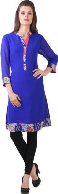 Libas Printed Women's Straight Kurta(Blue)