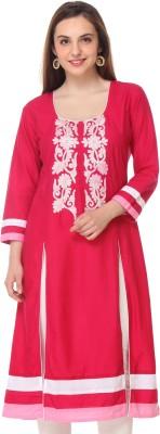 Aamii Printed Women's Straight Kurta(Red)