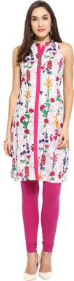 W Women Printed Flared Kurta(Pink)