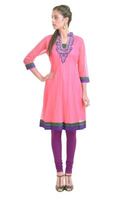 Libas Self Design Women's Anarkali Kurta(Pink)