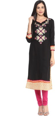 Prakhya Women Embroidered Straight Kurta(Black, Beige)